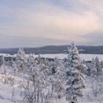 Du sommet de la colline Jyppyrä (700 mètres), on a une vue panoramique imprenable sur les arbres enneigés et le lac gelé Ounasjärvi.