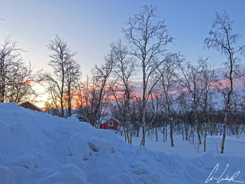 La lumière du soir éclaire les bouleaux qui se dressent au milieu de cette étendue neigeuse ainsi que les maisonnettes colorées…