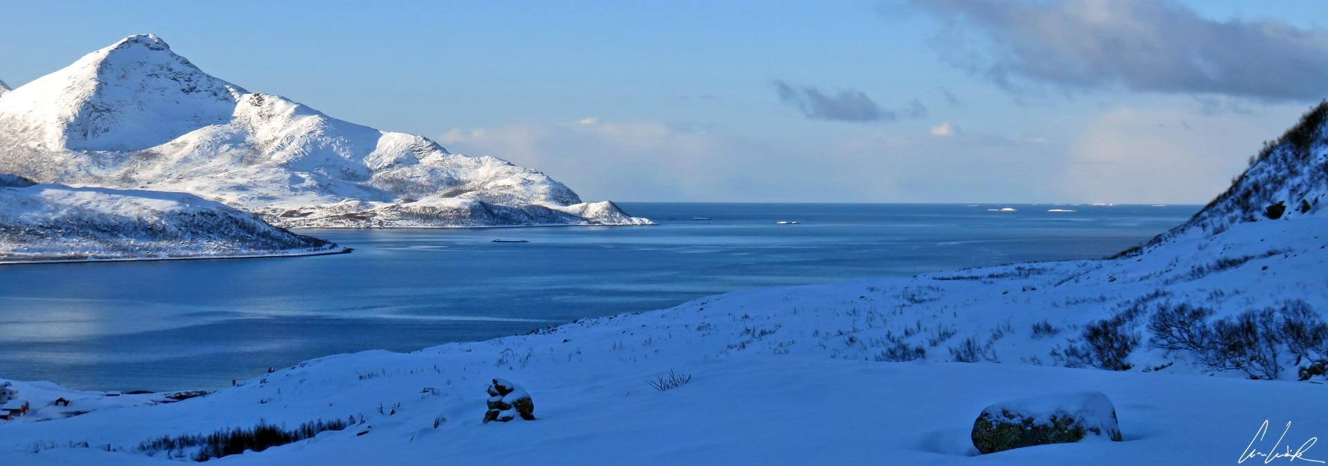 Une vue panoramique imprenable de l'océan arctique depuis Grøtfjor en Norvège. Au loin, on distingue de nombreux icebergs qui flottent.