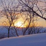 Le soleil décline à l'horizon. Le manteau neigeux se pare d'une couleur violacée tandis que les arbres ne sont plus que des ombres.