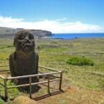"""Sur l'île de Pâques, le Moaï """"Tukututi"""" est intéressant d'un point de vue archéologique car c'est le seul de l'île qu'on ait trouvé avec des jambes"""