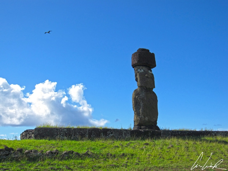 Sur l'île de Pâques, l'Ahu Tahai présente un moai solitaire nommé Kote Riku. Il est le seul restauré avec ses yeux et son Pukao, coiffure en lave rouge