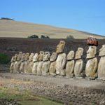 L'Ahu Tongariki est le site archéologique le plus imposant le l'île de Pâques. Hauts de plusieurs mètres, les 15 Moaï sont tournés vers l'intérieur de l'île