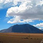 Sur l'altiplano chilien, les contrastes sont saisissants, entre l'azur du ciel, les roches rouges ou noires et les teintes jaunes de la végétation