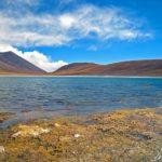 On s'approche lentement des rivages et l'on observe la Laguna Miñiques. Serait-ce les algues qui lui donnent ces reflets plus profonds ?