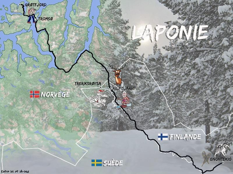 Une carte représentant le road-trip de C-Ludik en Laponie pour le blog Entre ici et là-bas. Road-trip de Enontekiö à Grotfjord