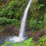 La Cascade de la Paz au centre du Costa Rica a une hauteur de 37 mètres. Elle est nichée au cœur de la forêt tropicale près du volcan Poás.