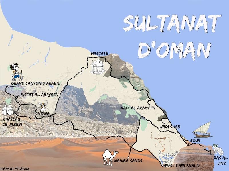 Une carte représentant le road-trip de C-Ludik au Sultanat d'Oman pour le blog