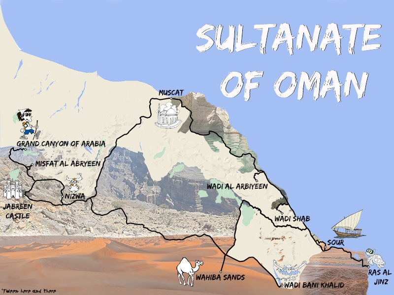 A map showing the road-trip of C-Ludik in the Sultanate of for the blog 'Tween here and there. A road-trip of 994 miles from Muscat including the Must-See.