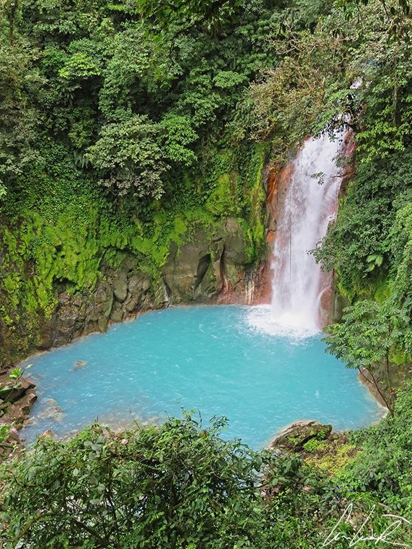 The Catarata del Rio Celeste or Rio Celest waterfall plunges from a height of 98 feet into a circular basin 55 feet deep and bordered by luxuriant vegetation.
